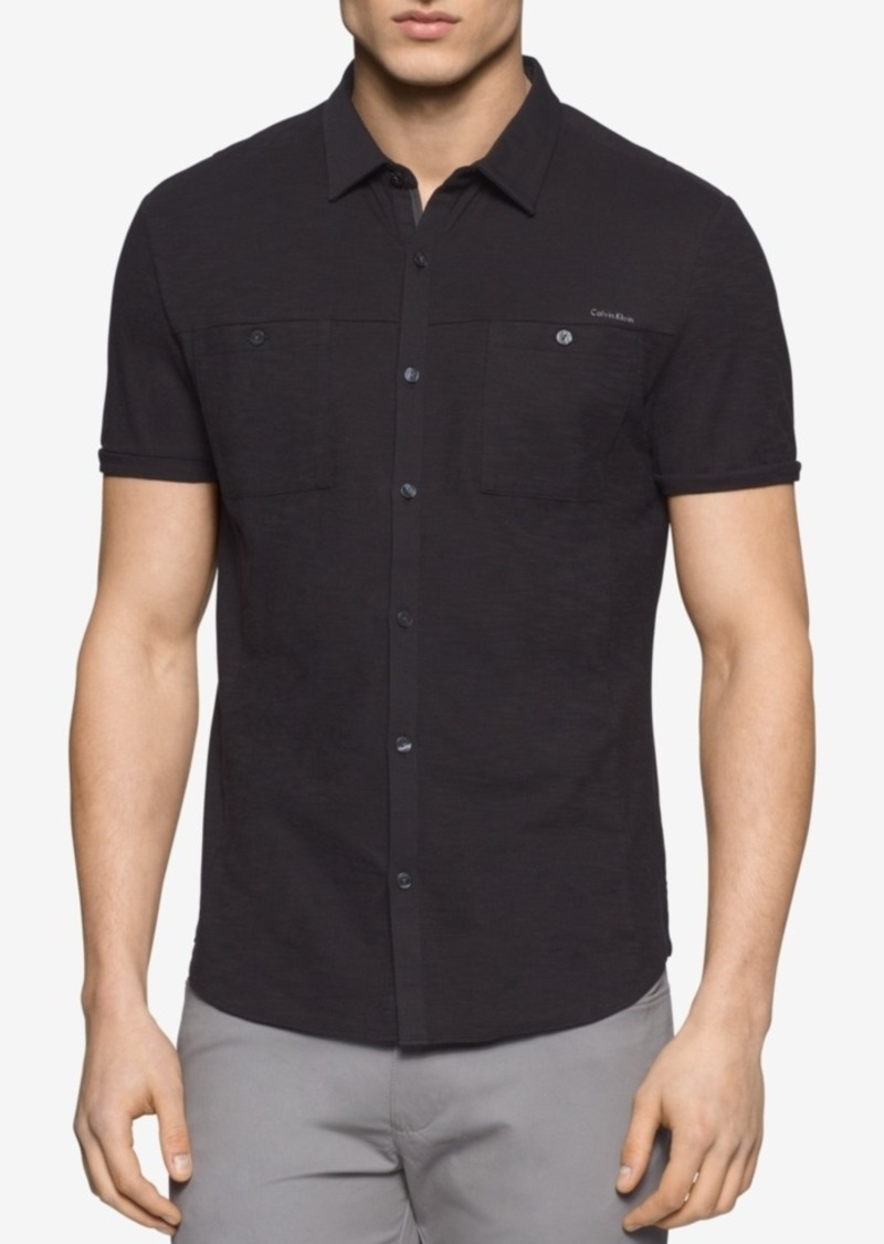 Calvin Klein Men's Heathered Short-Sleeve Shirt