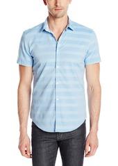 Calvin Klein Men's Horizontal Stripe Chambray Short Sleeve Button Down Shirt