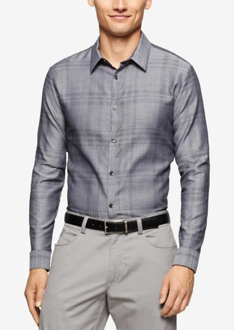 Calvin Klein Men's Jacquard Plaid Long-Sleeve Shirt