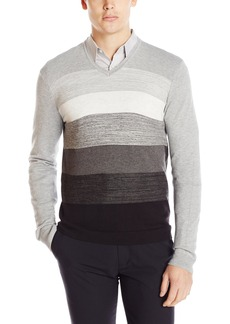 Calvin Klein Men's Jersey Striped V-Neck Sweater