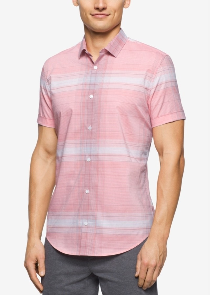 Calvin Klein Men's Large Plaid Short-Sleeve Shirt