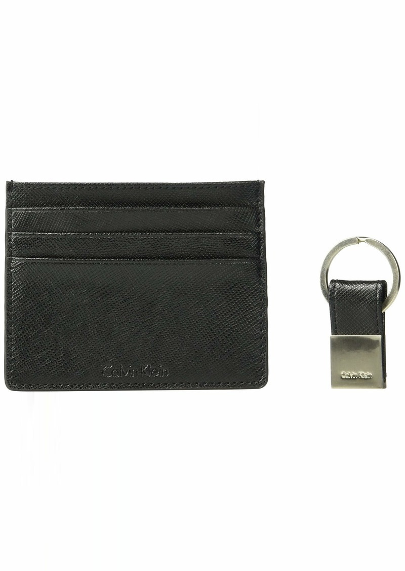 Calvin Klein Men's Leather Card Case with Key Fob black