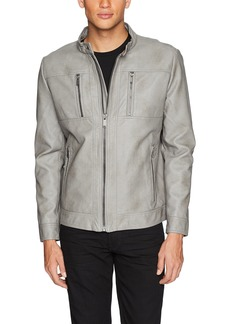 Calvin Klein Men's Lightweight Faux Leather Open Bottom Jacket Granite dust Extra Extra Large