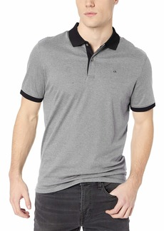 Calvin Klein Men's Liquid Touch Stripe Polo Black/Cellar
