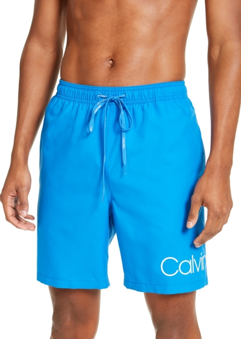 "Calvin Klein Men's Logo 7"" Volley Swim Trunks, Created for Macy's"