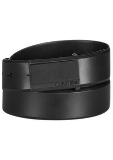 Calvin Klein Men's Logo Plaque-Buckle Leather Belt