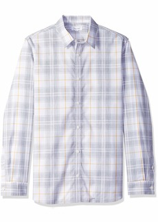 Calvin Klein Men's Long Sleeve Button Down Plaid Shirt  M