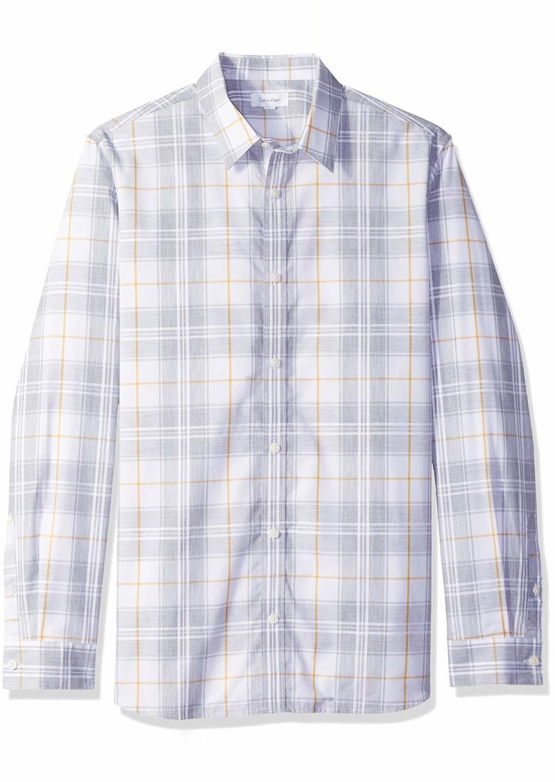 Calvin Klein Men's Long Sleeve Button Down Plaid Shirt  M