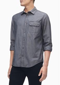 Calvin Klein Men's Long Sleeve Chambray Stripe Shirt