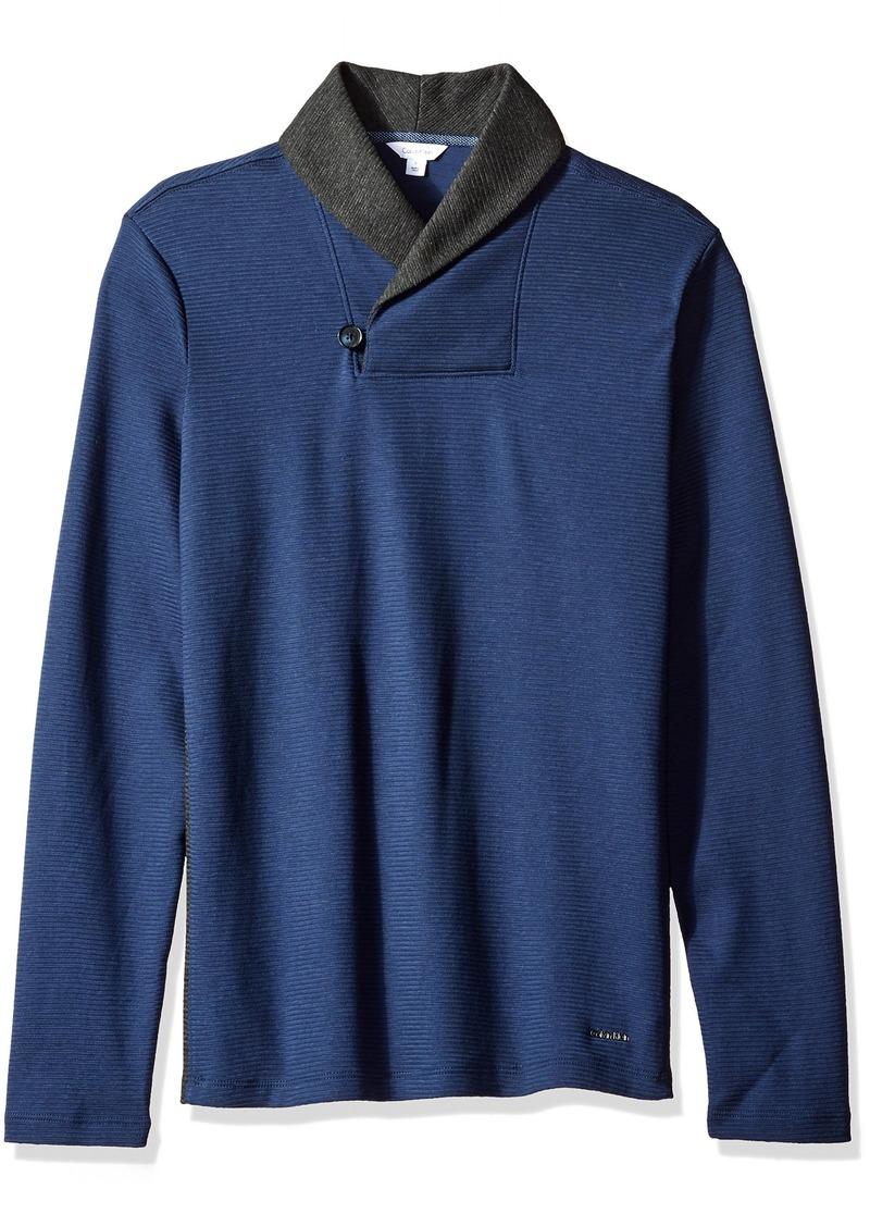 Calvin Klein Men's Long Sleeve Color Block Shawl Collar Pullover  LARGE
