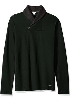 Calvin Klein Men's Long Sleeve Color Block Shawl Collar Pullover