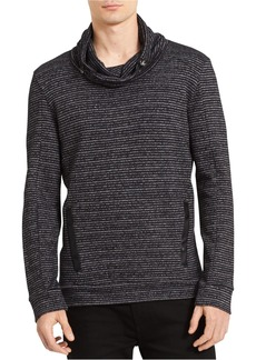 Calvin Klein Men's Long Sleeve Marled Stripe Funnel Neck Pullover Sweater  2X-Large
