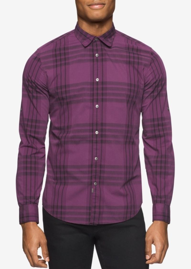 Calvin Klein Jeans Men's Long-Sleeve Mulberry Plaid Shirt