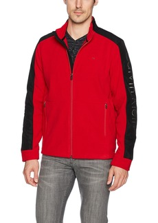 Calvin Klein Men's Long Sleeve Nylon Mixed Media Full Zip Polar Fleece Tango red