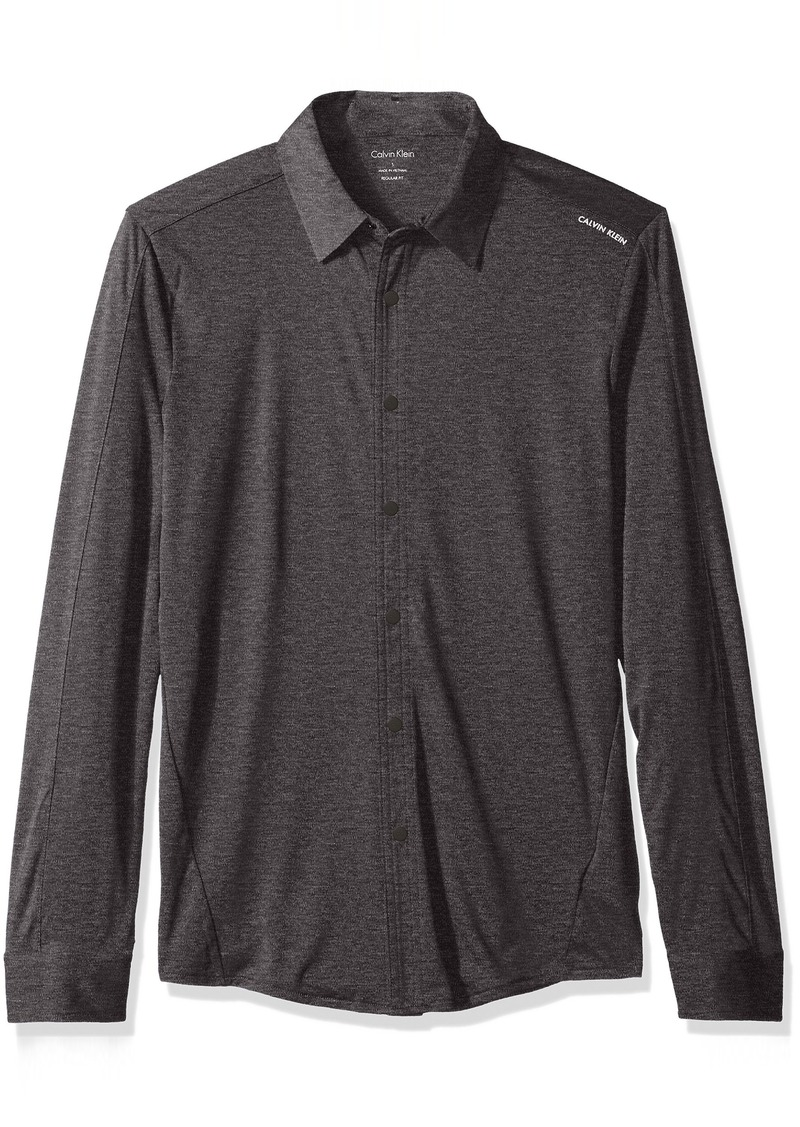 Calvin Klein Men's Long Sleeve Snap Front Commuter Shirt with Pocket  LARGE