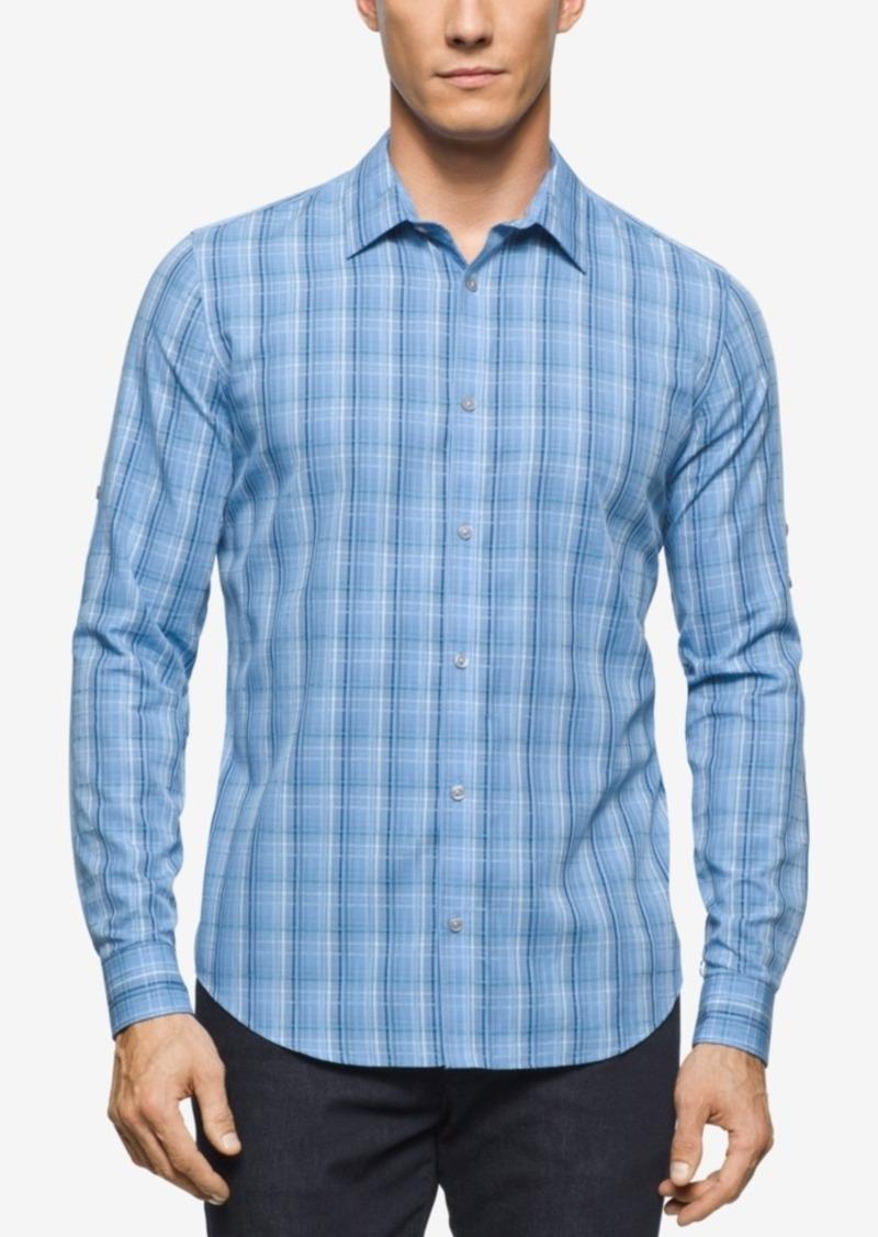 Calvin Klein Men's Long Sleeve Twill Plaid Rollup Shirt