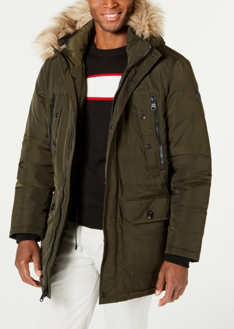 Calvin Klein Men's Long Snorkel Coat with Faux-Fur Trimmed Hood