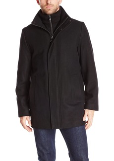 Calvin Klein Men's Long Wool Car Coat with Bib