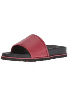 Calvin Klein Men's MACKEE Tumbled Brushed SMTH Slide Sandal Brick RED