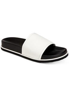 Calvin Klein Men's Mackee Tumbled Smooth Leather Slides Men's Shoes