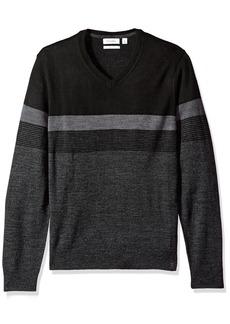 Calvin Klein Men's Merino Color Block Stripe V-Neck Sweater