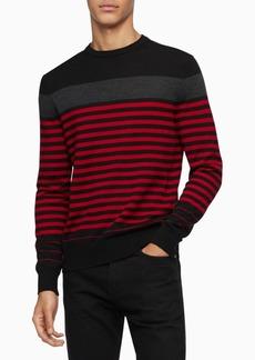Calvin Klein Men's Merino Colorblock Striped Sweater