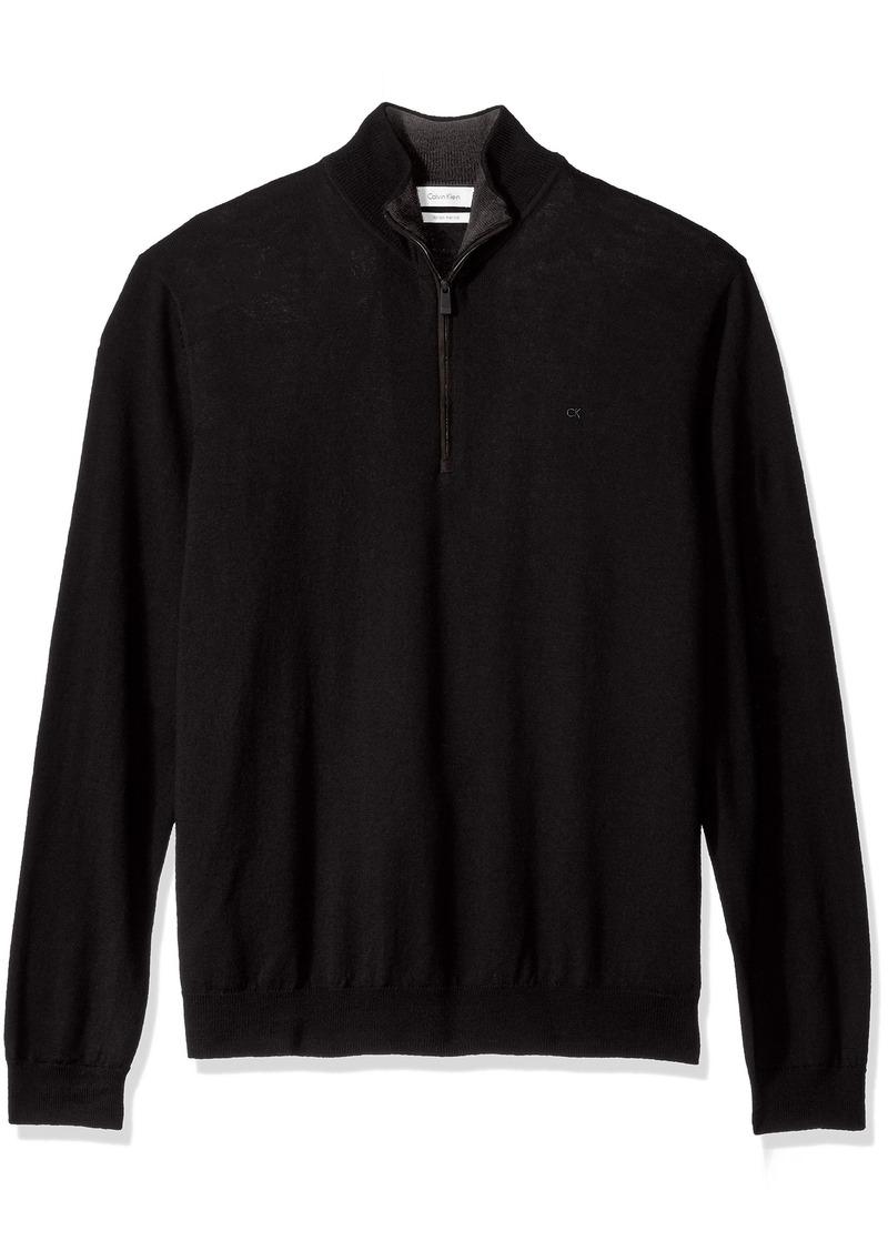 Calvin Klein Men's Merino End on End Check Quarter Zip Sweater  LARGE