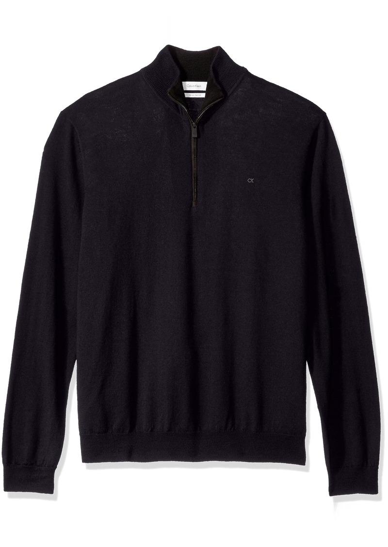 Calvin Klein Men's Merino End on End Check Quarter Zip Sweater  MEDIUM