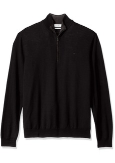Calvin Klein Men's Merino End on End Check Quarter Zip Sweater  X-LARGE