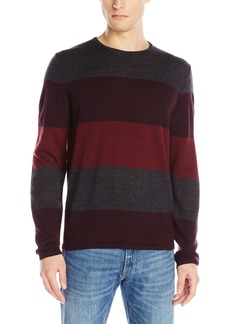 Calvin Klein Men's Merino Striped Color Blocked Crew Neck Sweater