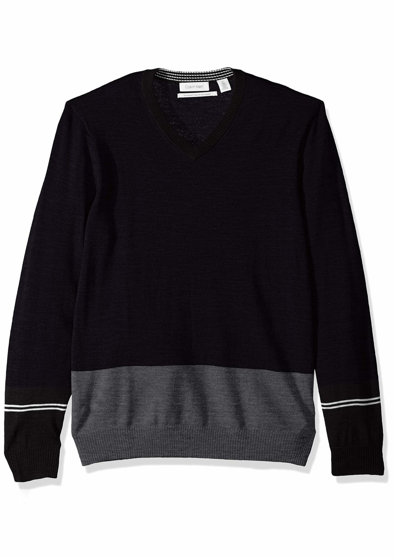 Calvin Klein Men's Merino Sweater V-Neck Stripes