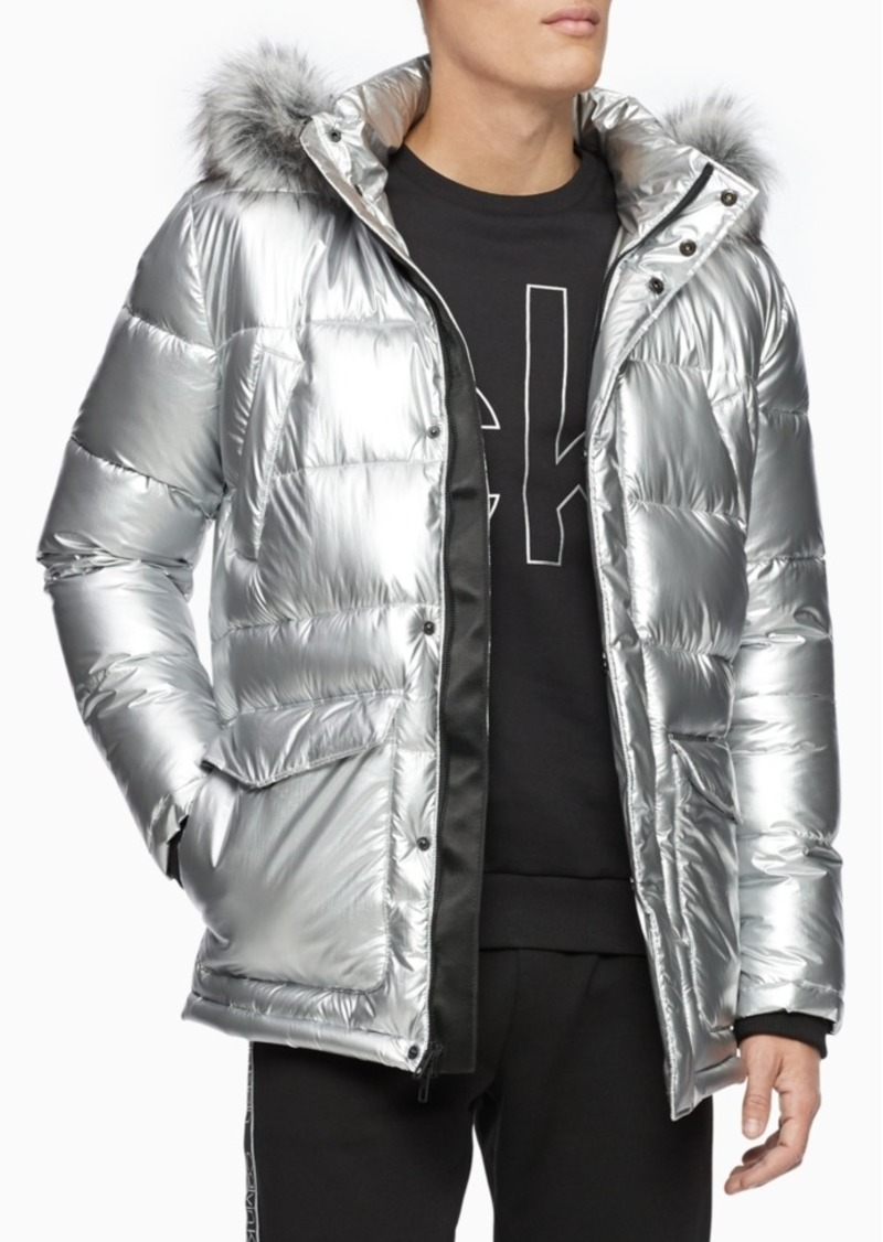 Calvin Klein Men's Metallic Puffer Parka With Faux-Fur Trim