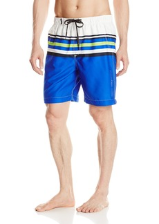 Calvin Klein Men's Microfiber Striped Volley Swim Trunk