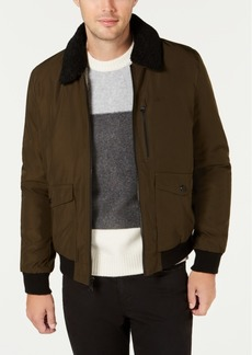 Calvin Klein Men's Military Flight Jacket With Sherpa Collar