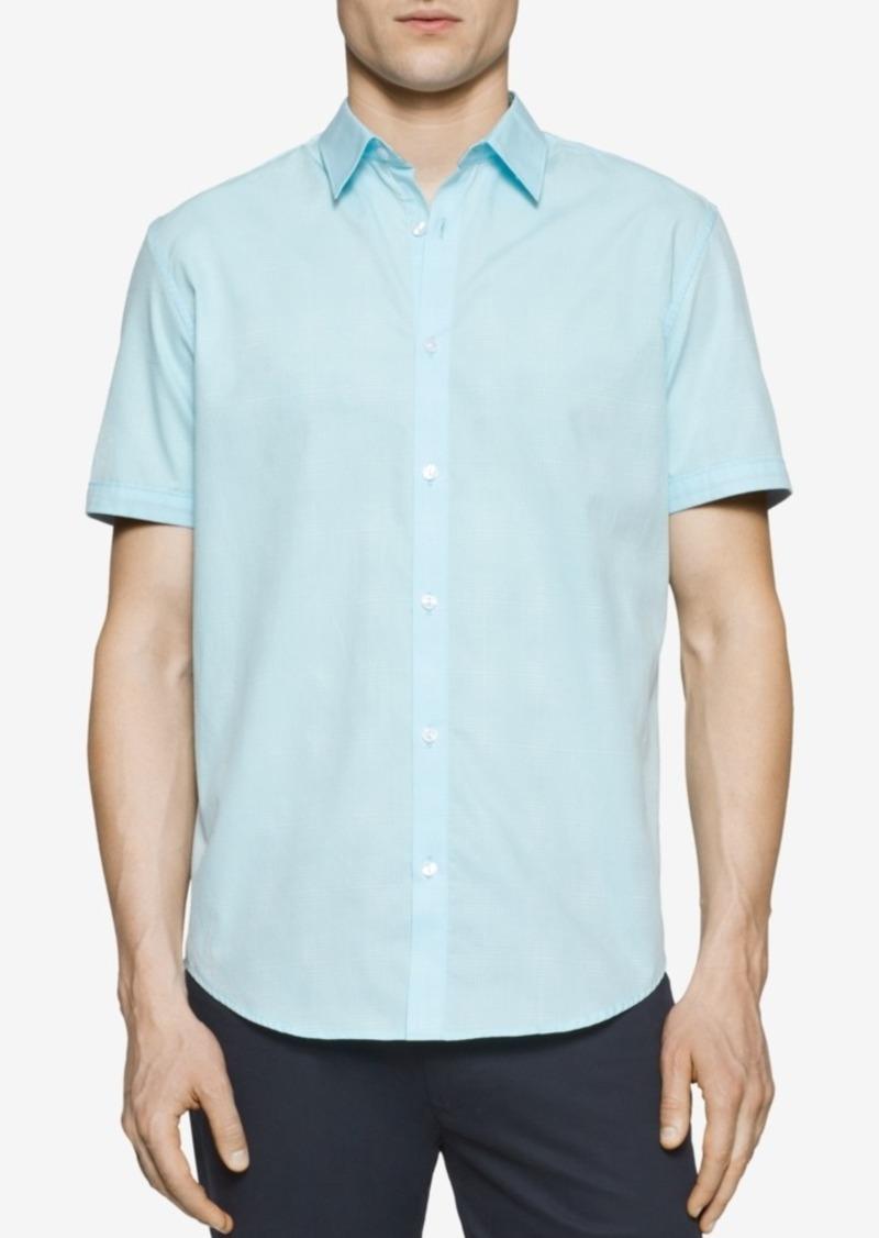 Calvin Klein Men's Mini-Grid Dobby Short-Sleeve Shirt