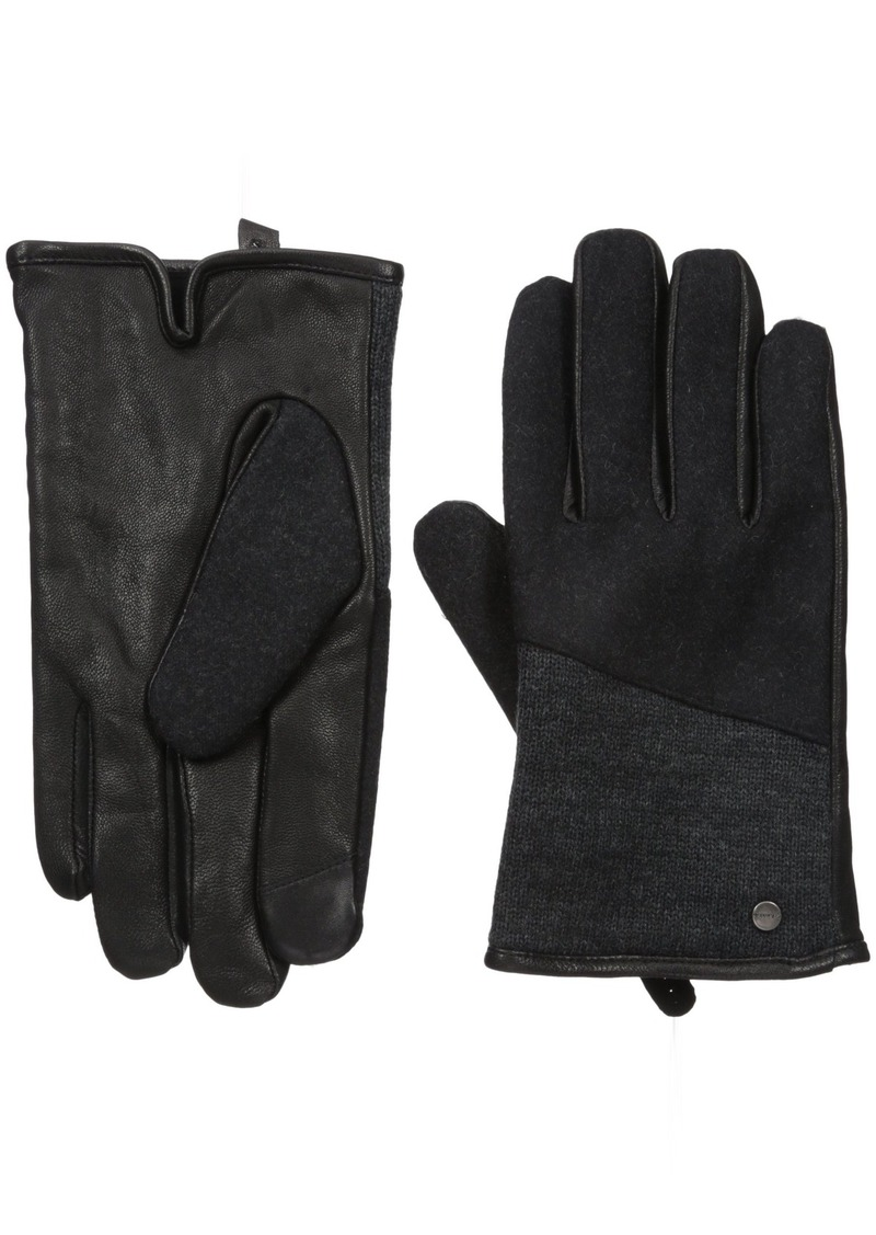 Calvin Klein Men's Mixed Media Knit Insert Leather Glove With Touchscreen Technology Black M