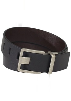 Calvin Klein Men's mm Feather Edge Semi Shine Belt With Smooth Leather Harness And Engraved Logo Black/Brown