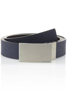 Calvin Klein Men's mm Reversible Flat Strap Plaque Buckle With Logo Belt