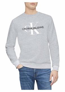 Calvin Klein Men's Monogram Logo Crew Neck Sweatshirt Light Grey Heather CK 2X-Large