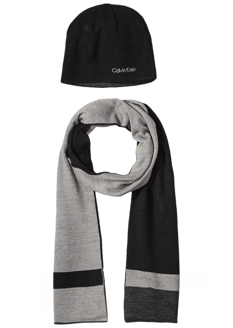 Calvin Klein Calvin Klein Men s Hat and Scarf Set Black Heather Gray ... 818736176d6