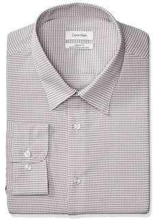 "Calvin Klein Men's Non Iron Regular Fit Mini Check Point Collar Dress Shirt  14.5"" Neck 32""-33"" Sleeve"