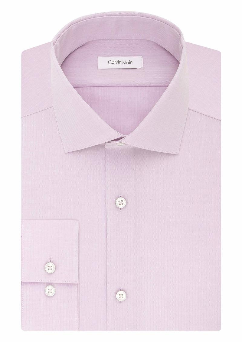"Calvin Klein Men's Non Iron Slim Fit Herringbone Spread Collar Dress Shirt  15.5"" Neck 34""-35"" Sleeve"