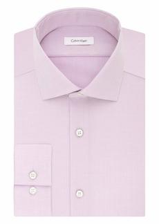 "Calvin Klein Men's Non Iron Slim Fit Herringbone Spread Collar Dress Shirt  17"" Neck 32""-33"" Sleeve"