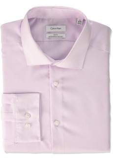 Calvin Klein Men's Non Iron Slim Fit Herringbone Spread Collar Dress Shirt