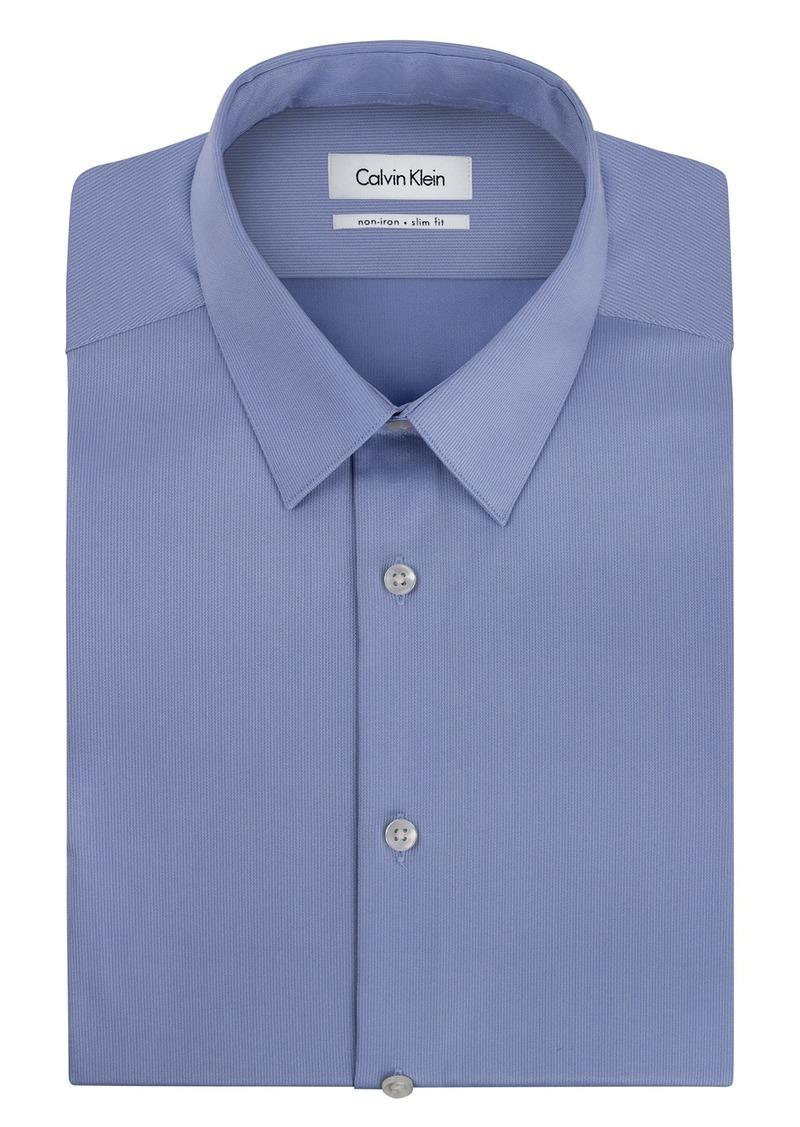 "Calvin Klein Men's Non Iron Slim Fit Solid Point Collar Dress Shirt  16.5"" Neck 36""-37"" Sleeve"