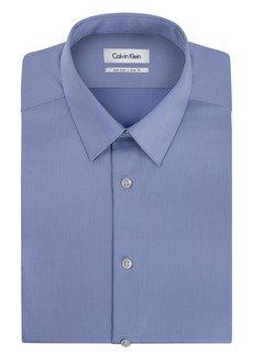 Calvin Klein Men's Non Iron Slim Fit Solid Point Collar Dress Shirt