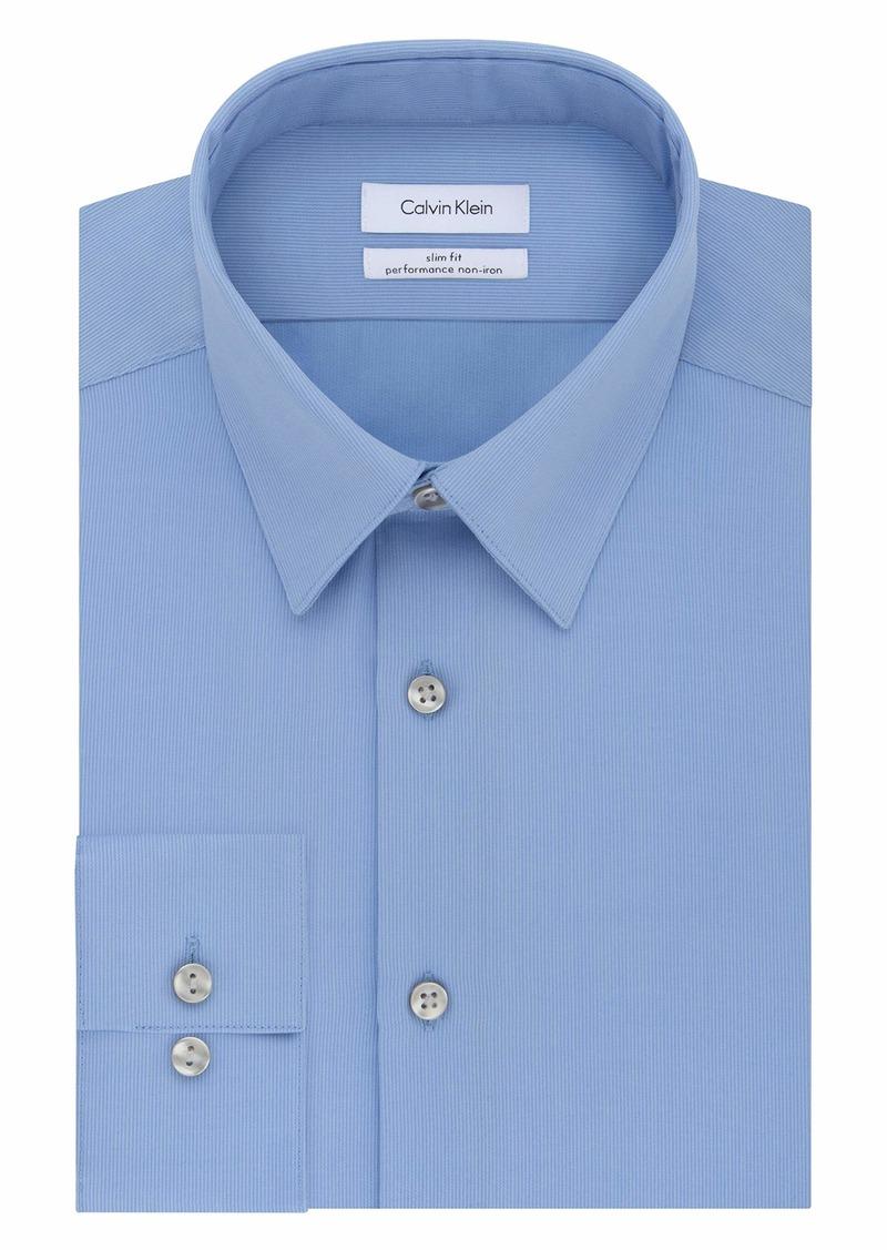 Calvin Klein Men's Non Iron Slim Fit Solid Point Collar Dress Shirt