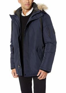 Calvin Klein Men's Parka Jacket with Faux Fur Logo Hood  Extra Extra Large