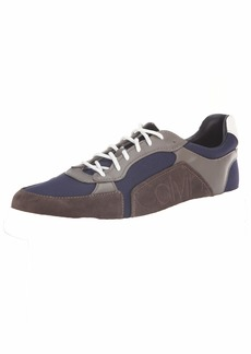 Calvin Klein Men's PENLEY Smooth Calf LTHR/Suede/NYL Sneaker Gry STNE/NGHTSCPE  M M US