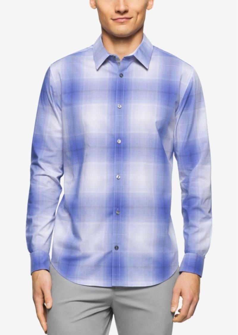 Calvin Klein Men's Plaid Roll-Tab Long-Sleeve Shirt